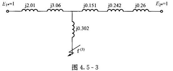 某系统等效电路如图4.5-3所示,各元件参数标幺值标在图4.