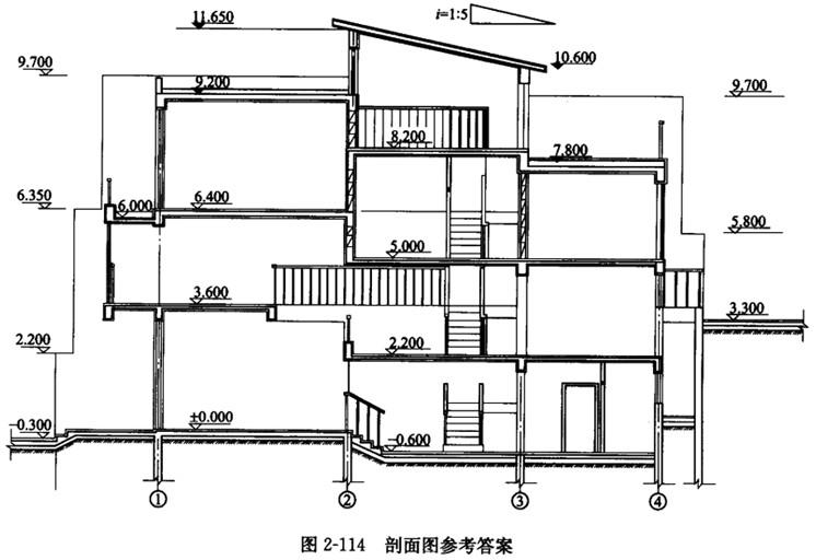 建筑剖面设计 1.任务说明 图2-113为某山地联排住宅的